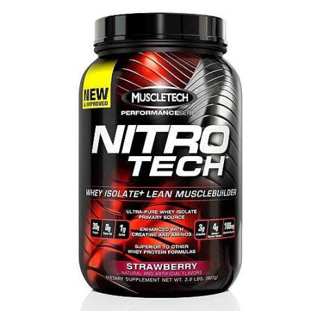 MuscleTech Nitro Tech Whey Protein Isolate+, Strawberry, 32 Ounce