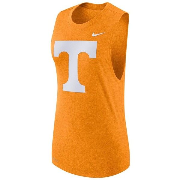 Women's Nike Tennessee Volunteers Dri-FIT Muscle Tee ($35) ❤ liked on Polyvore featuring tops, orange and nike