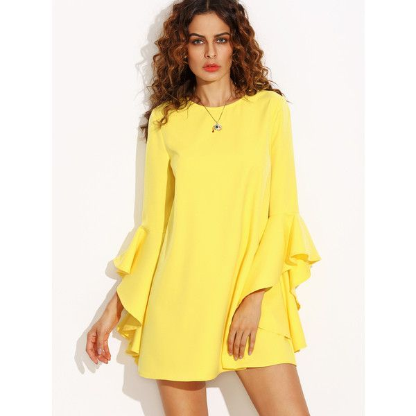 Yellow Crew Neck Ruffle Sleeve Shift Dress ($24) ❤ liked on Polyvore featuring dresses, yellow day dress, flutter sleeve dress, crew neck dress, long yellow dress and ruffle dress