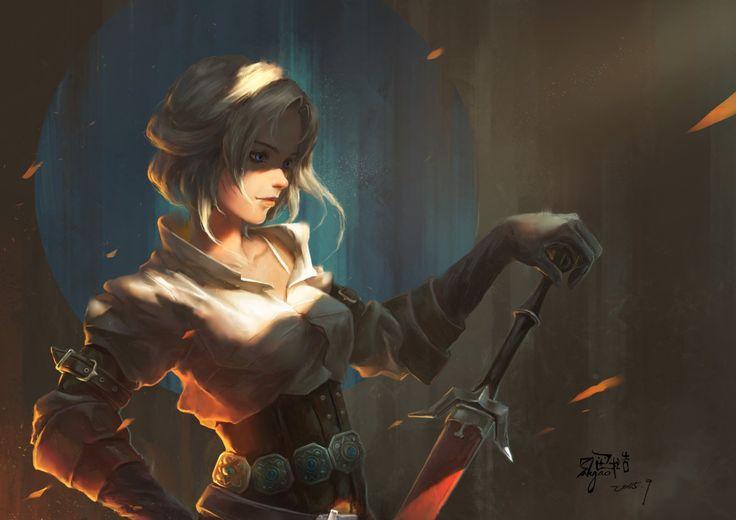 Gry Wideo - Wiedźmin 3: Dziki Gon  Short Hair Ciri (The Witcher) Miecz White Hair Woman Warrior Blue Eyes Tapeta