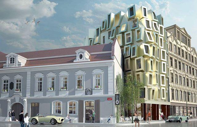 #architecture #archvilemhruby #design #hotel #history #exterior #fasade #visualization #prague🇨🇿 #luxury #reconstruction #gold #shiny #modern #barok #building #sculpture #city #centre