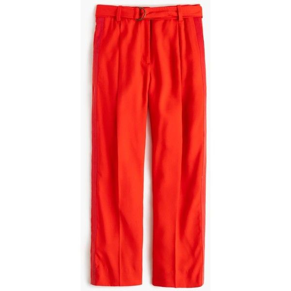 J.Crew Cropped Wide-Leg Trouser With Tux Stripe (265 CAD) ❤ liked on Polyvore featuring pants, capris, red wide leg pants, j crew tuxedo, striped pants, red crop pants and lightweight pants