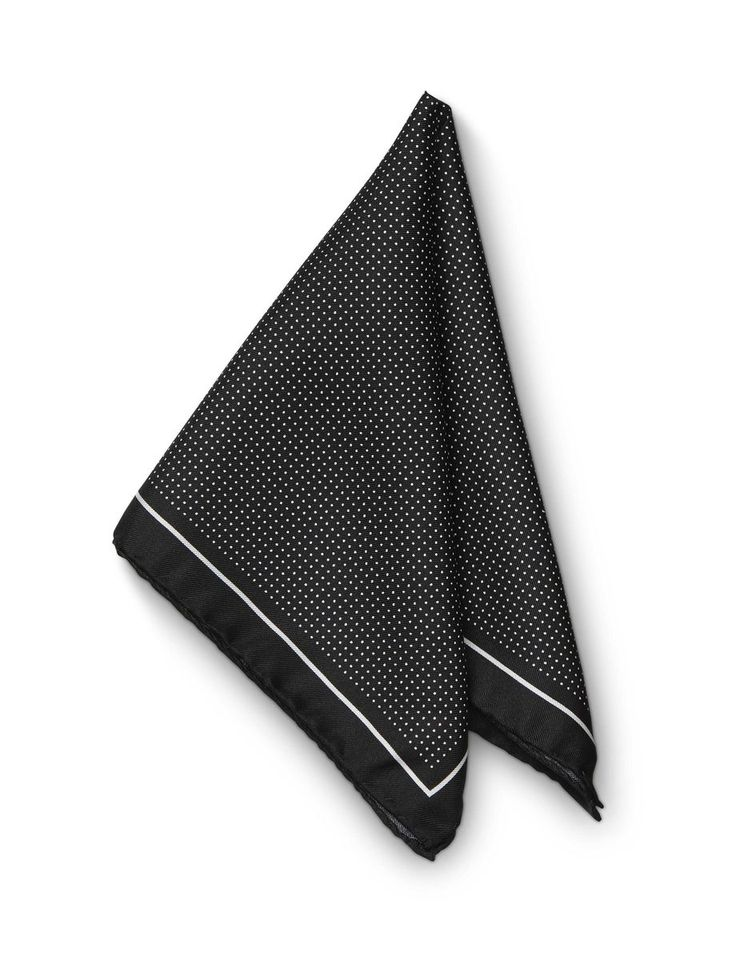 Marinelli hankerchief-Men's square handkerchief in silk twill. Features printed micro-dot pattern with contrast frame and Tiger of Sweden logo. Size: 33 x 33 cm. Made in Italy