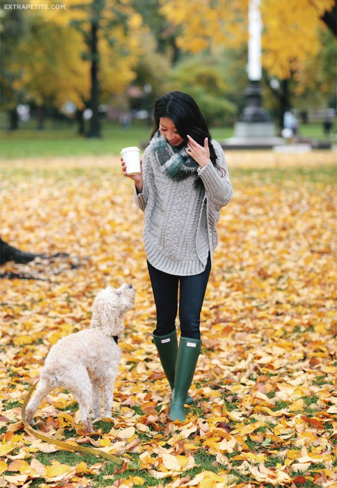 Fall casual outfit idea for rainy day // cable poncho sweater, infinity scarf…