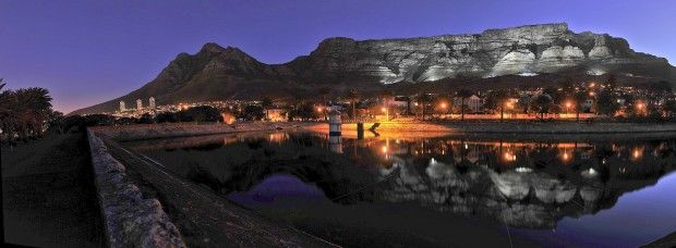 Beautiful shot of Table Mountain at night. Image by Bruce Sutherland