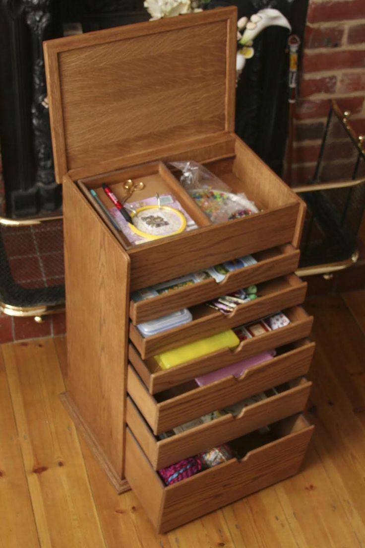 Large Basic Handmade Oak Wooden Heirloom Sewing Box Or