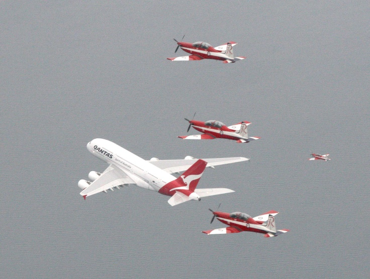 The RAAF Roulettes fly in formation with a Qantas A380 around Port Phillip Bay in conjunction with the Formula One Grand Prix in Melbourne.    (Date taken: 28 March 2010