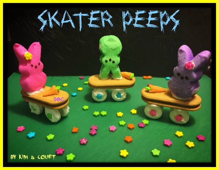 Save Print SKATER PEEPS  Ingredients Vienna Finger Cookies Bunny Peeps Lifesavers – 4 for each skateboard Orange Starburst candy (1 candy makes 3 carrots) Daisy Sprinkles Handful of melted wh…