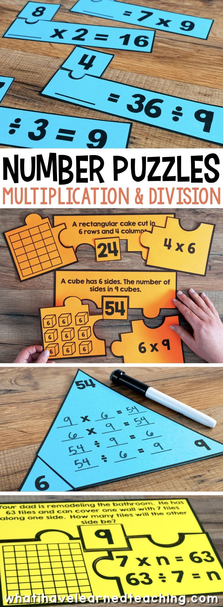 Number Puzzles for Third Grade engage students in using a variety of models, strategies and equations when solving problems. #thirdgrademath