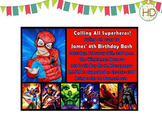 superhero invitation  superhero party  spiderman invitation  marvel superhero  superhero