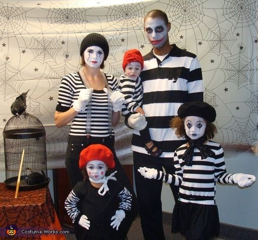 Rebecca: Our family of five all dressed up as mimes with different personalities. We found each costume piece by piece. We took things from our closets that we already owned we...