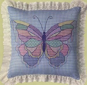 Chicken Scratch Embroidery On Gingham | ... Butterfly Pillow Blue Gingham Chicken Scratch Embroidery KIT