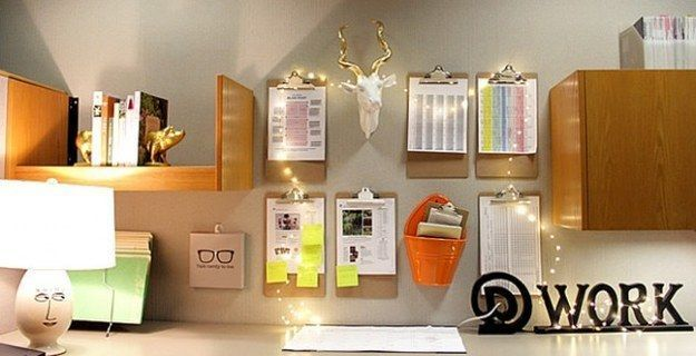 Or, string up some Christmas lights for a little extra glam. | 54 Ways To Make Your Cubicle Suck Less