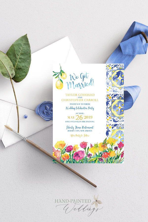 Capri Tile Inspired Watercolor Wedding Invitation In 2020