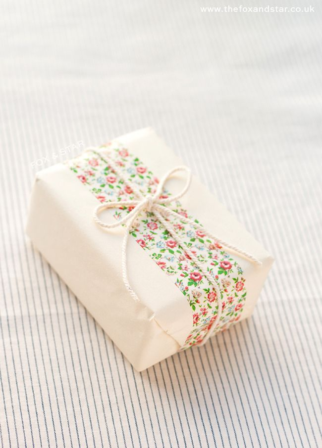 cute floral washi tape gift wrap tied up with string :: fox and star blog #floral #giftwrap #washitape