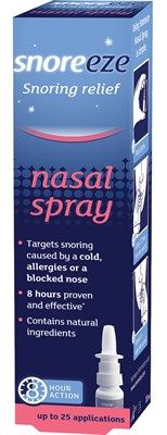 Snoreeze Nasal Spray targets snoring caused by a cold, allergies or a blocked nose. Its unique blend of natural active ingredients coats the nasal passages and opens the airways to provide effective snoring relief for up to 8 hours.  Targets snoring caused by a cold, allergies or a blocked nose. 8 hours proven and effective. Contains natural ingredients.  Snoreeze Nasal Spray is available in 10ml providing up to 25 applications.