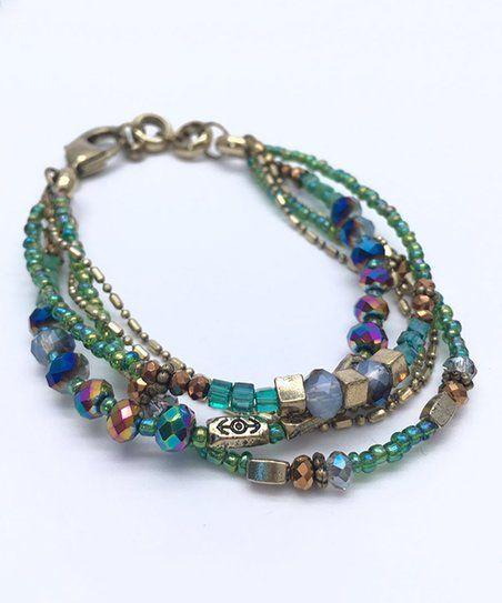 Ella and Elly Blue & Goldtone Beaded Multi-Strand Bracelet | zulily