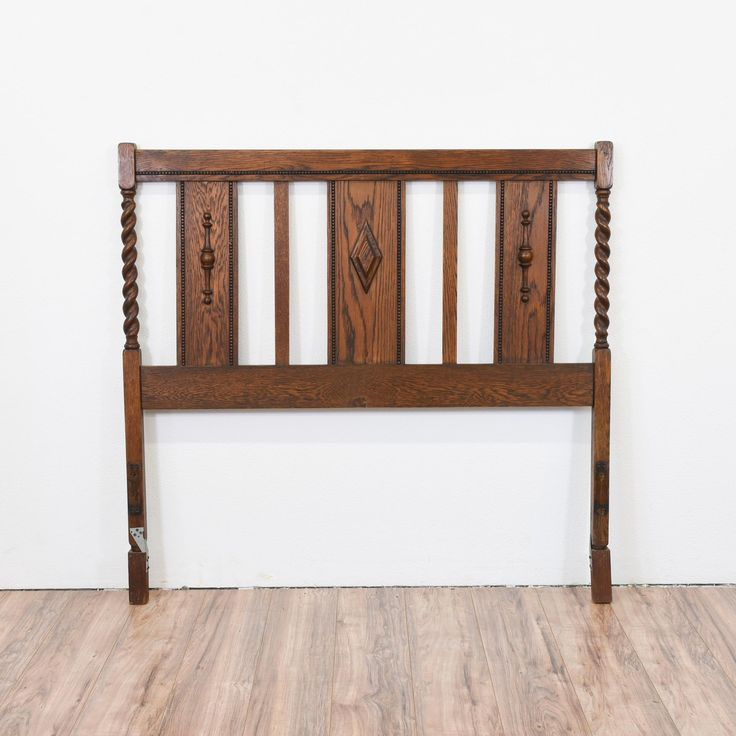 """This barley twist headboard and footboard are featured in solid wood and a gloss dark oak finish. It is in great condition. Perfect for your full size bed!    Dimensions: Headboard= 54""""L x 2""""D x 51.5""""H; Footboard= 54""""L x 2""""D x 39.5""""H #traditional #beds #headboard #sandiegovintage #vintagefurniture"""