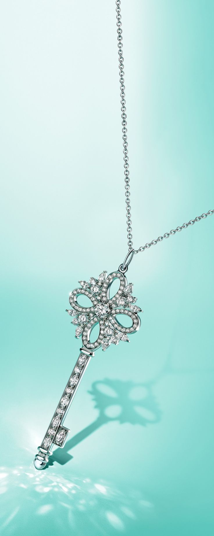 Unlock a dazzling holiday with a Tiffany Keys Tiffany Victoria® pendant in platinum with diamonds.