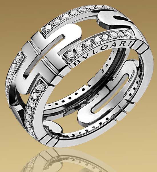 bulgari parentesi ring in white gold with pav diamonds