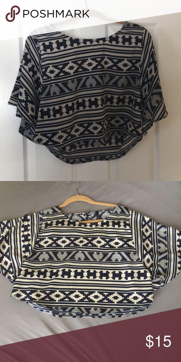 Aztec crop top! Navy and tan Aztec print top. Flowy. Worn once Tops Crop Tops