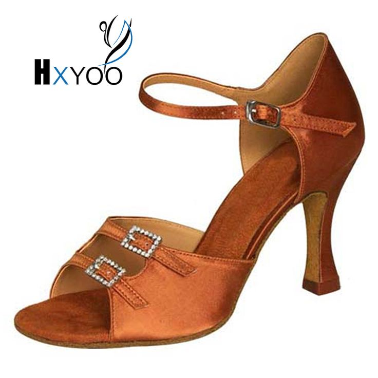 Women Ballroom Dance Shoes Latin Salsa Tango Suede Sole Girls Satin Light Brown Customized Sandal Heels Teach Practice JYG925