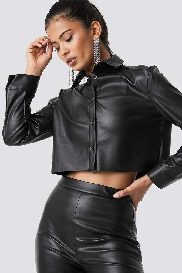 7907e16b7ca04 Hannalicious X Na Kd Cropped Faux Leather Shirt Black