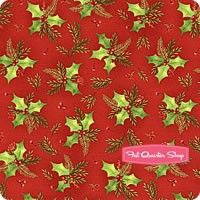 Songbird Christmas Red Holly Yardage <br/>SKU