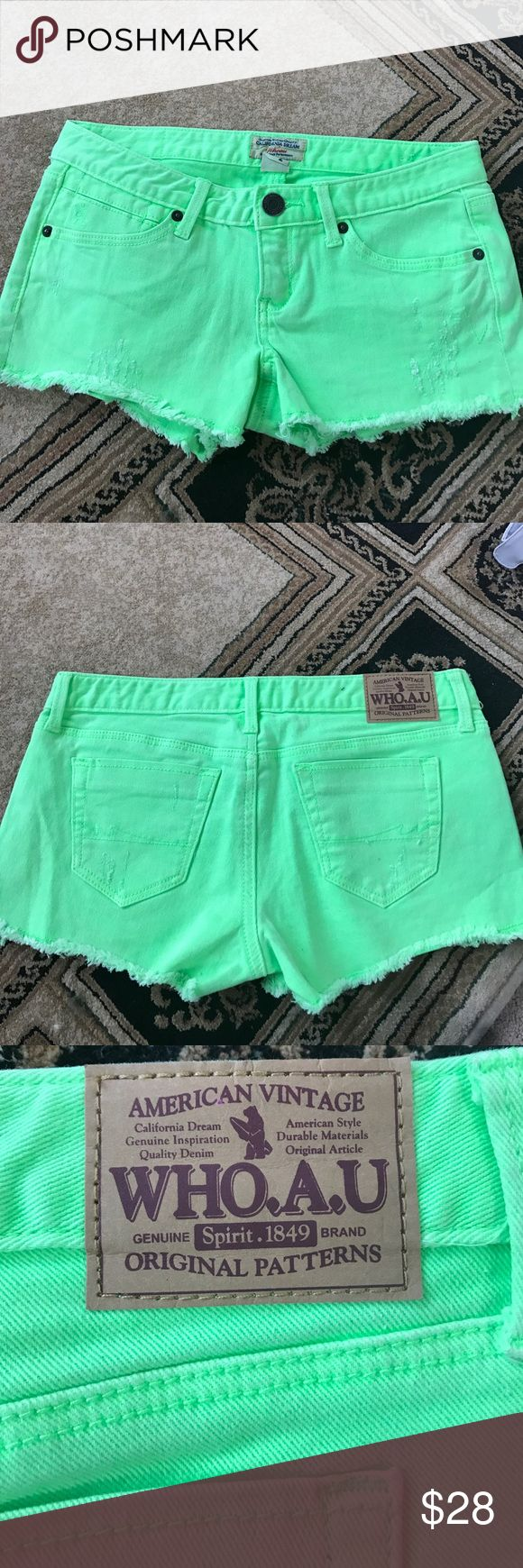 Brand New neon green shorts no tags Size 2 26 inch waist neon green shorts . Bought brand new from Dillard's took tags off but never worn American Vintage Shorts Jean Shorts
