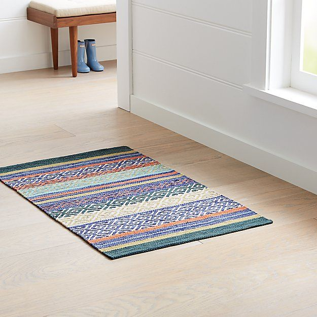 Yumi Blue Multi Color Rag Rug Crate And Barrel In 2020 Rag Rug Rugs On Carpet Rug Texture