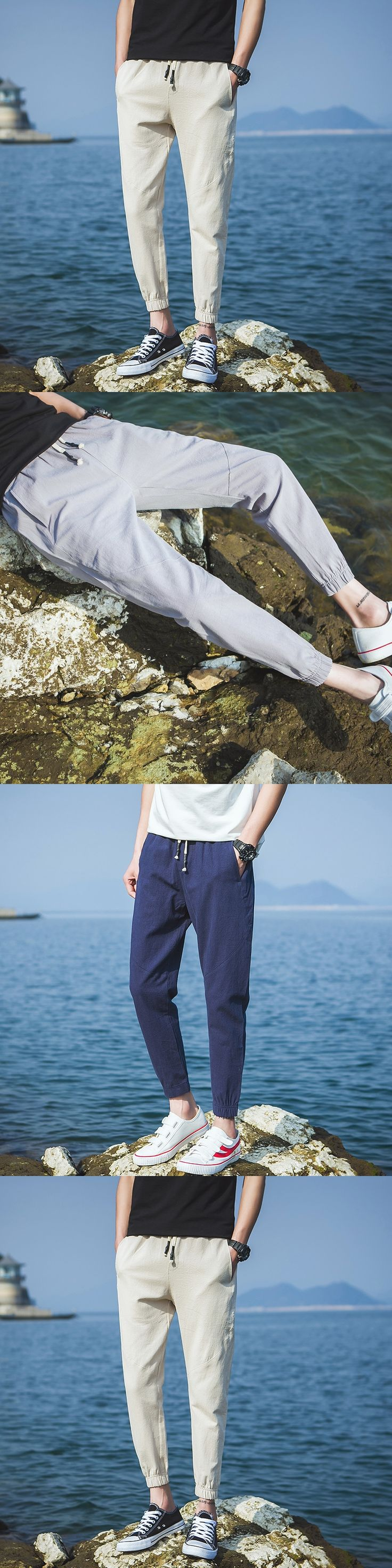 Linen pants men 2017 Mens Summer Cotton Casual Trousers Breathable Drawstring sweatpants men jogger pants pantalon hombre