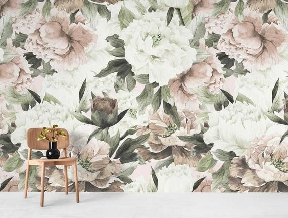 Peel And Stick Wallpaper Vintage Floral Wall Murals Beautiful Etsy Papier Peint Floral Papier Peint Peintures Murales De Papier Peint