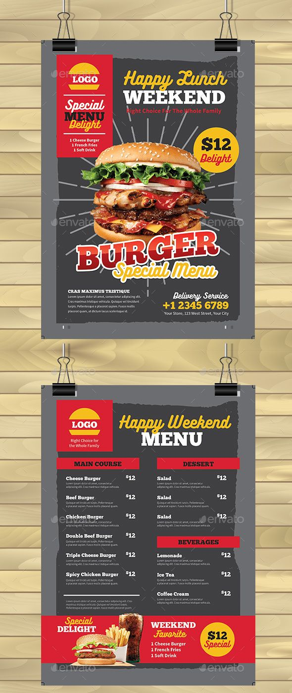 burger menu flyer template food menus print templates food