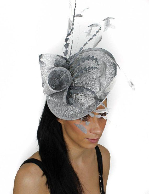 Metalic Silver Fascinator Hat for Weddings Races by Hatsbycressida, $160.00