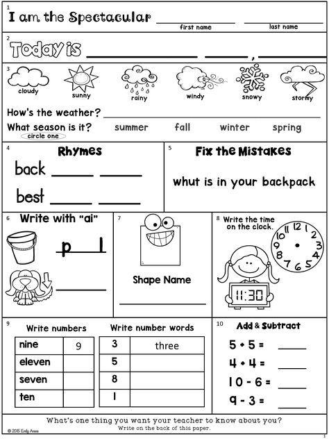 70 best Morning work worksheets images on Pinterest | School, 1st ...