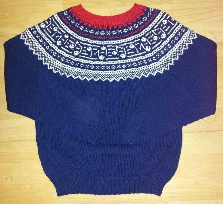 Min første mariusinspirerte genser med noe annet enn de originale kryssene som er i mariusgenserne. Det ble noter denne gangen, kanskje note...