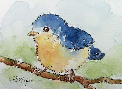 Watercolor Paintings by RoseAnn Hayes: Baby Bird Watercolor Painting