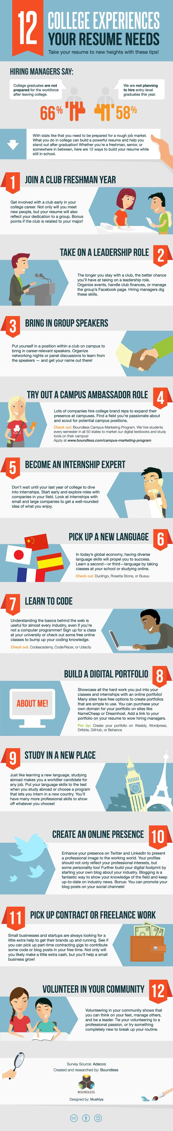 12 college experiences you need to have on your resume infographic