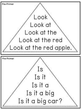 Reading Fluency Activity - Fluency Triangles® for Pre-Prim