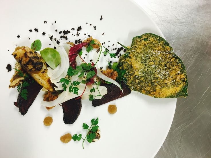 Burnt goats cheese, pickled fennel, beetroot and candied walnuts with crispy betel leaf.