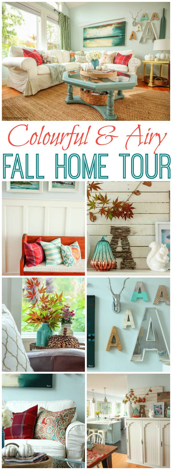I love this fresh and colourful fall home tour at thehappyhousie.com