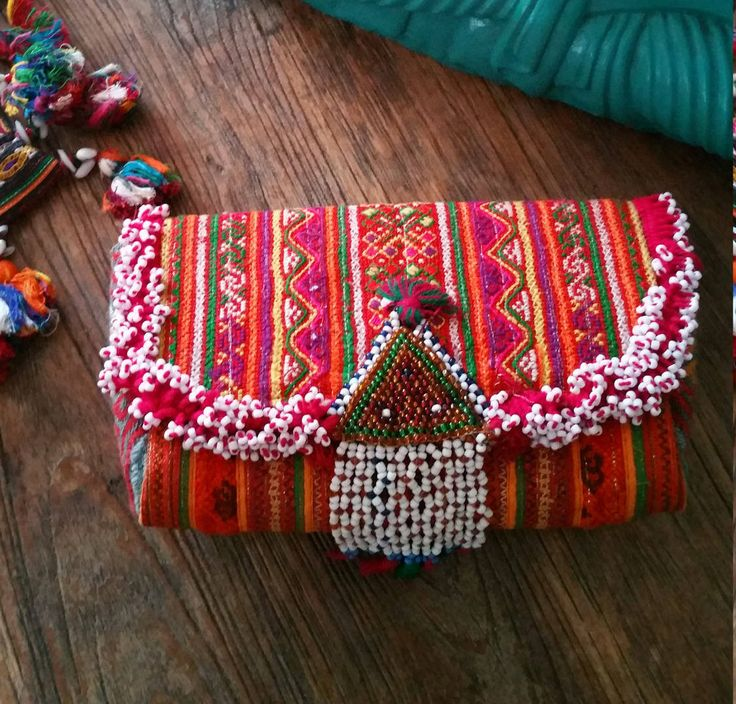 Gorgeous Hmong Textile Clutch With Tribal Beaded Trim by KavanaEmporium on Etsy