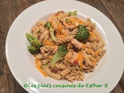 Les plats cuisinés de Esther B: Fusillis crémeux avec poulet et brocoli de Stefano...