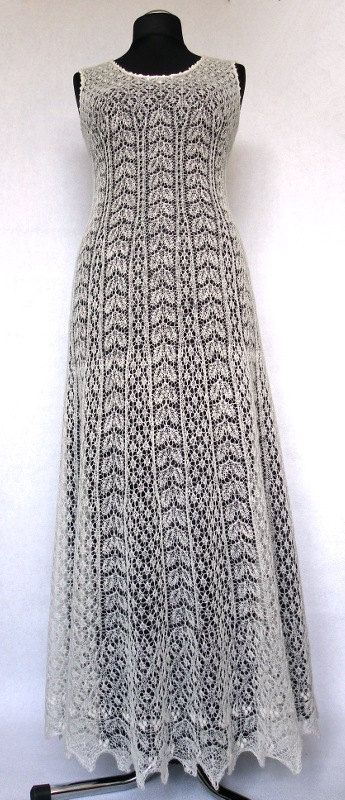 Hand knitted festive/ wedding dress fine  natural white by ByRees, $1499.00