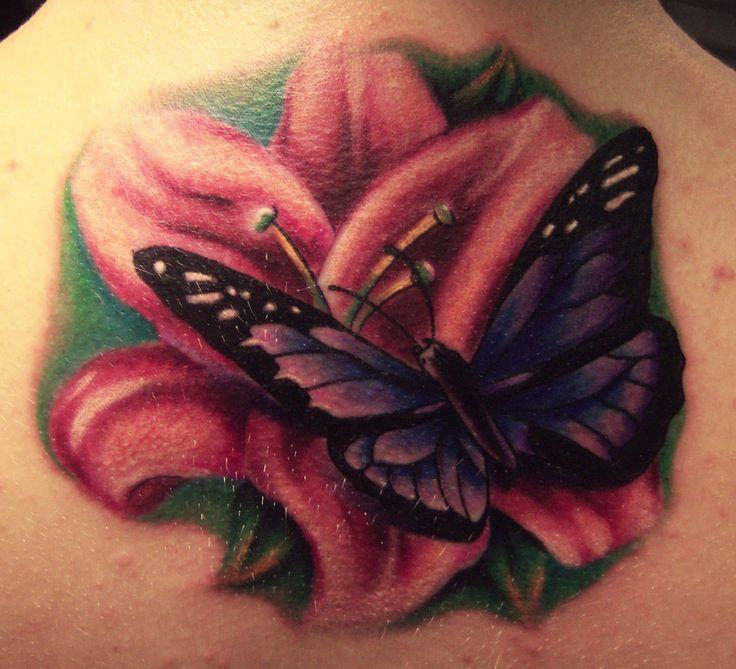 lilies and butterflies tattoos   Butterfly Flower Tattoos