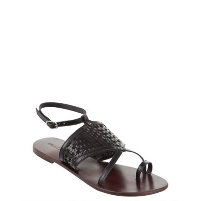 Cali and Cale - Cross - Flat Sandals (Black)  Flat leather sandals. The The Cali and Cale Cross sandals have an almond shape toe with single toe strap, weave design on the vamp and a sling back heel construction. The Cross sandals have a leather upper, flat footbed and rubber sole.  Available at www.shoesonline.com.au