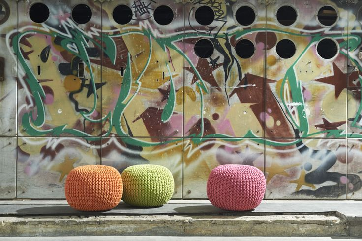 Woven Floor Cushions for a Pop of Colour