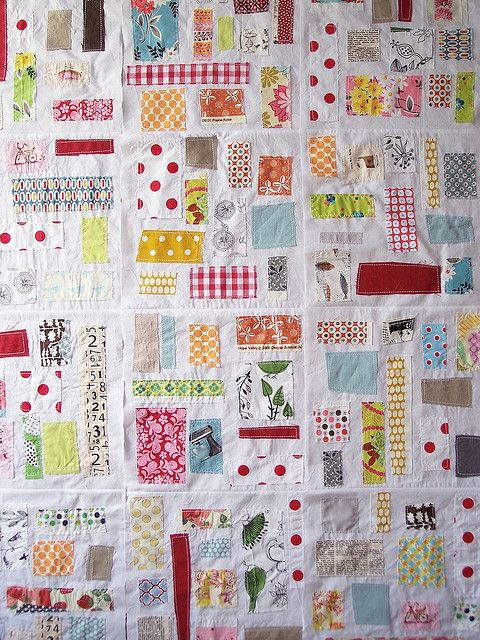 absolutely love. Take every scrap you have and stitch on to white squares, no plan, no measuring, just cut, place, sew! A true scrap quilt.