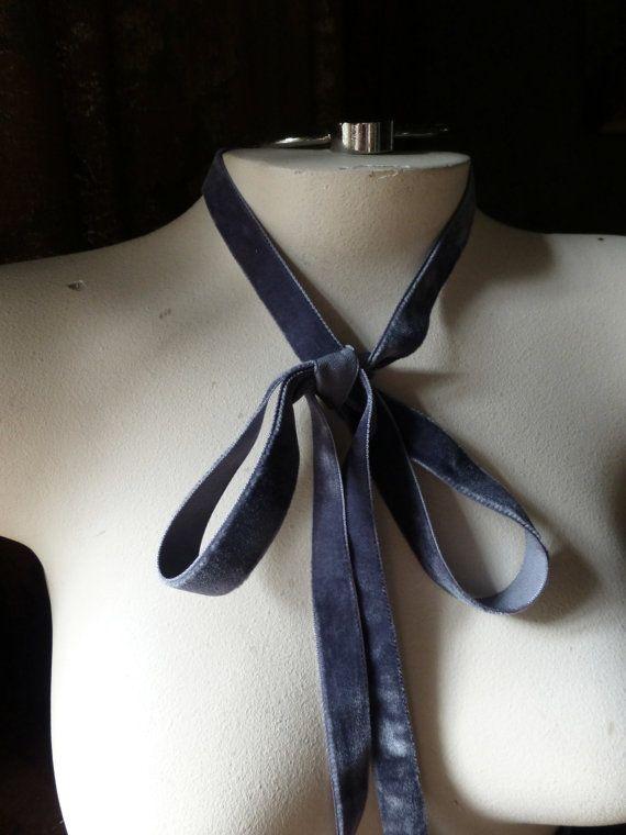 Ruban de velours 2 YARDS en gris pour bijoux ou costumes, chapeaux, Couture…
