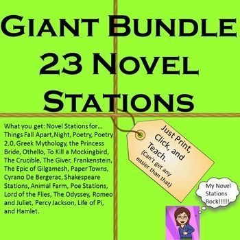 You get: Poetry Poetry Stations 2.0, Things Fall Apart, Greek Mythology, The Princess Bride, Othello, To Kill a Mockingbird, The Crucible, The Giver, Cyrano De Bergerac, Shakespeare, Animal Farm, Poe, Lord of the Flies, The Odyssey,  Romeo and Juliet, Percy Jackson, Life of Pi, and Hamlet.